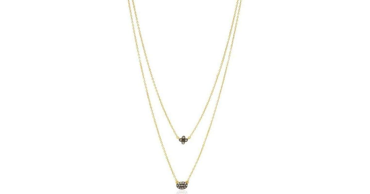 Freida Rothman Two Tone Double Drop Clover Pave Oval Necklace 1GHSIq