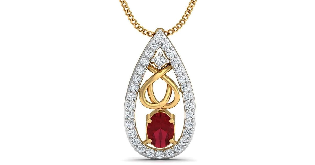 Diamoire Jewels Pave Set Diamond and Pear Cut Ruby Pendant in 10kt Yellow Gold cEbLj408QT
