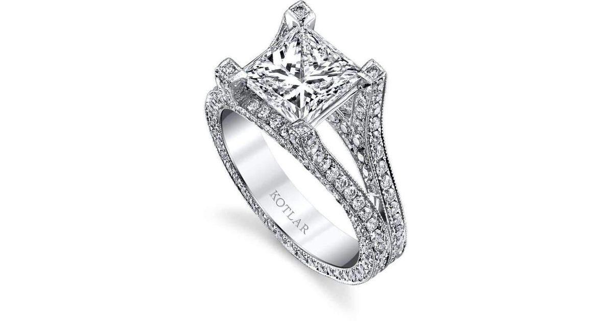 0f3b5d17888e75 Harry Kotlar Princess Cut Unity Ring in Metallic - Lyst