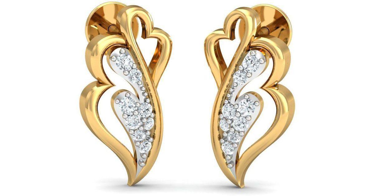Diamoire Jewels 18kt Yellow Gold 0.11ct Pave Diamond Infinity Earrings III CssjUfXY