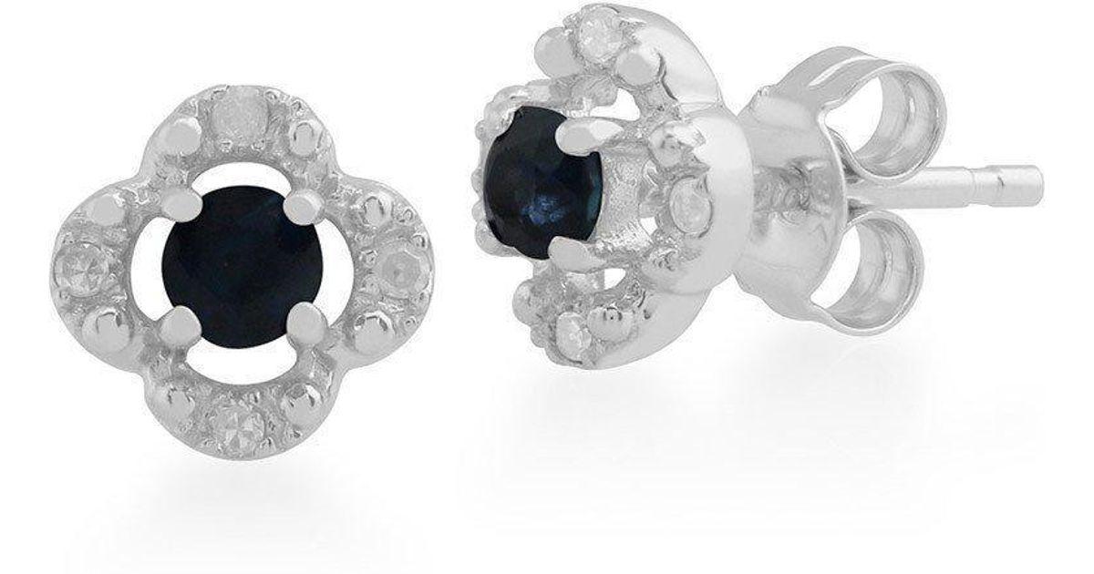 f94e55a4ae7fd3 Lyst - Gemondo Jewellery Sapphire And Diamond Quatrefoil Stud Earrings