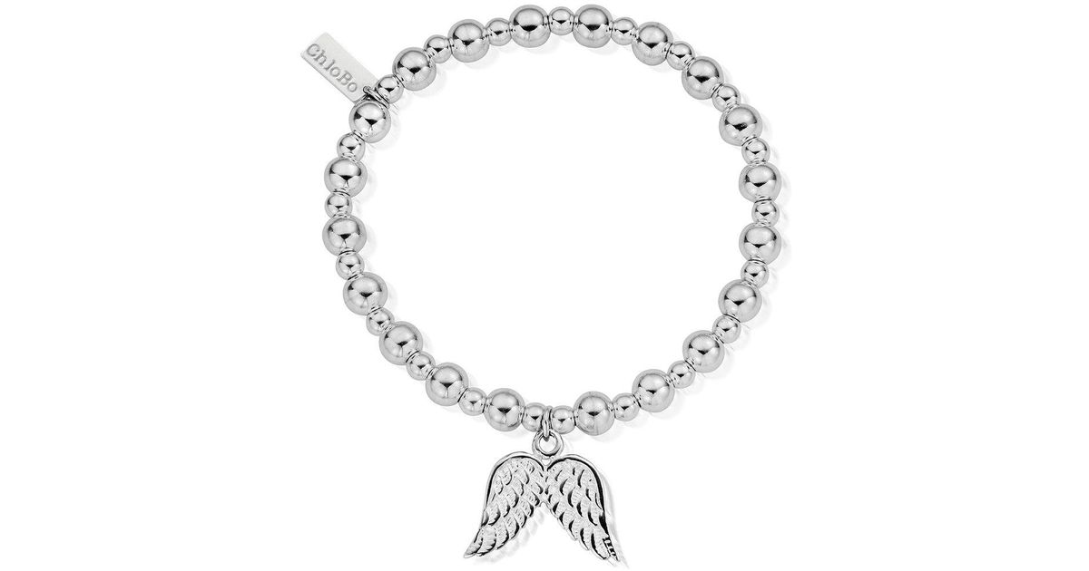 Chlobo Metallic Sterling Silver Mini Small Ball Double Angel Wing Bracelet
