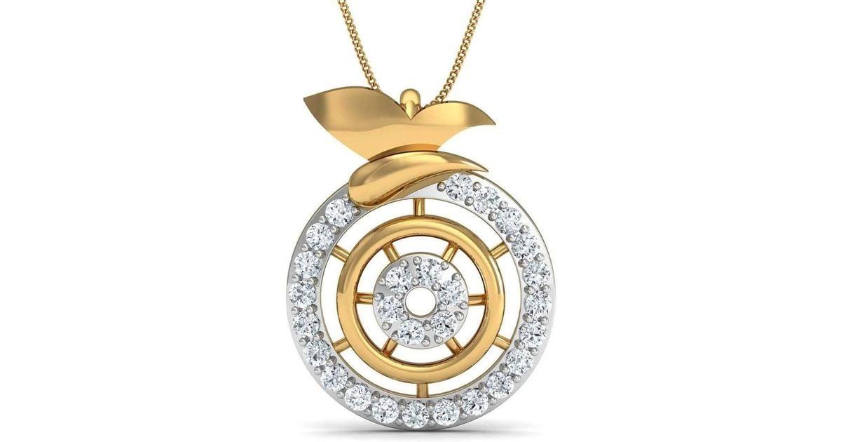 Diamoire Jewels Nature Inspired 14kt Yellow Gold Designer Diamond Pendant rJQEeJp6
