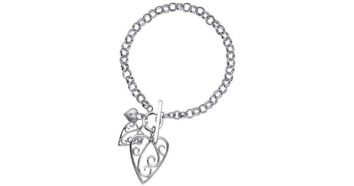 Lily & Lotty Aimee Silver & Diamond Triple Heart Bracelet NfTKQZEC