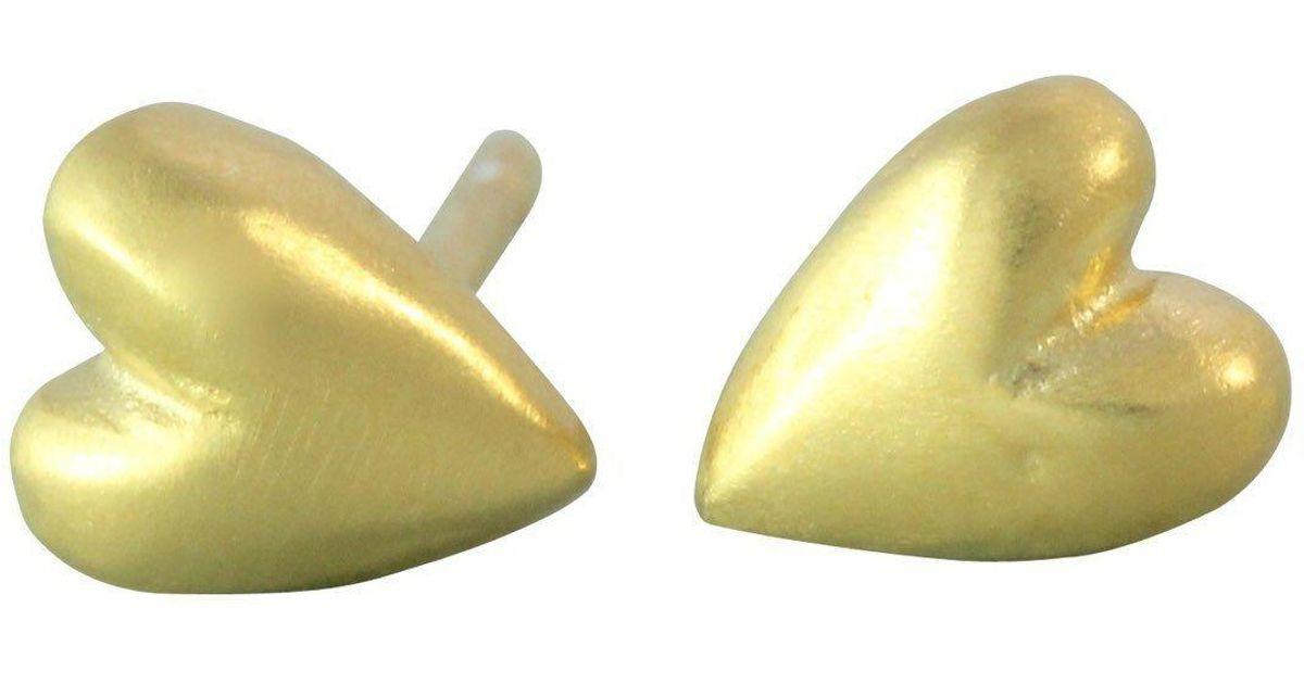 ead0dfab3 Bridget Wheatley Jewellery Tiny Gold Heart Stud - Lyst
