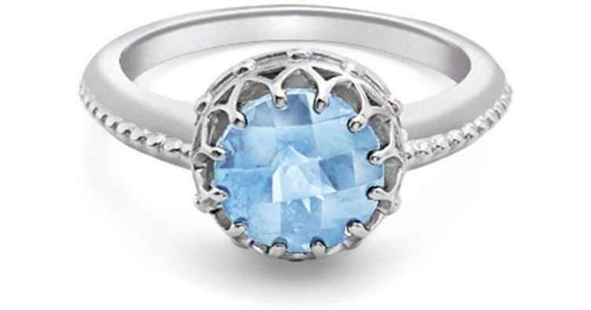 London Road Jewellery Bloomsbury White Gold Blue Topaz Coronation Ring vECc0