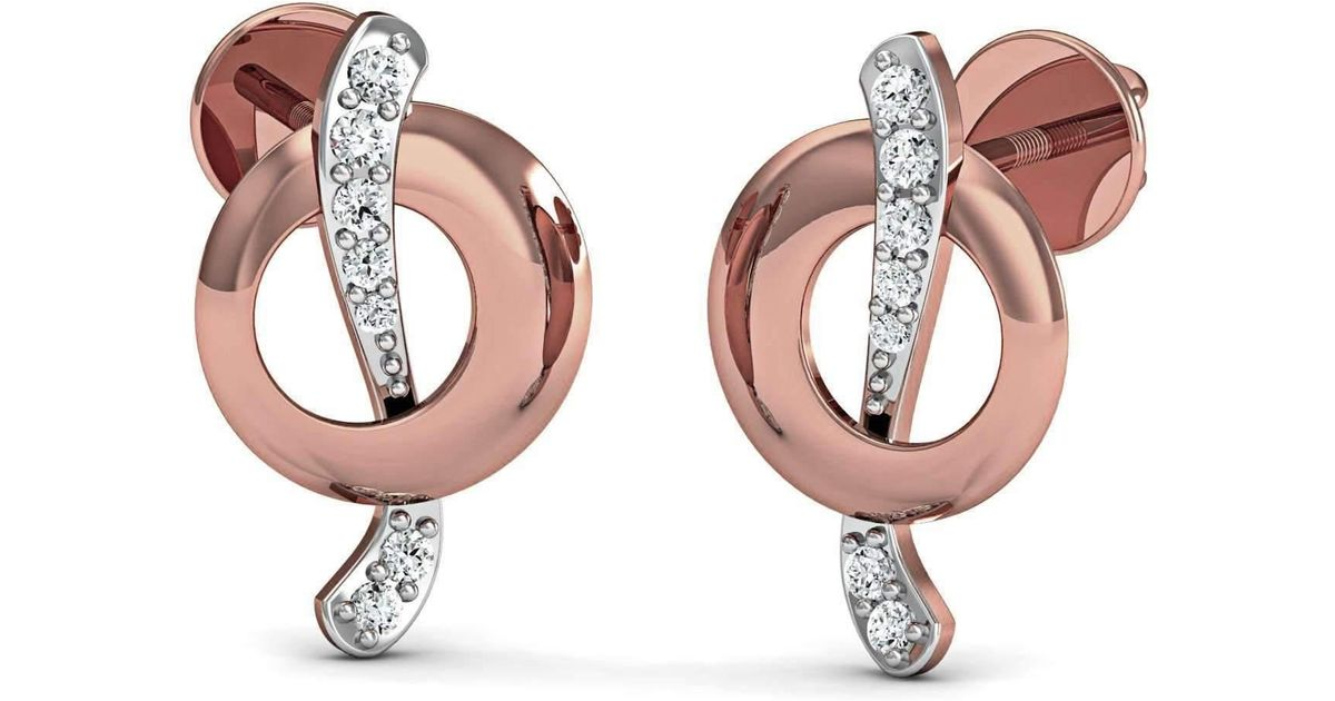 Diamoire Jewels 14kt Yellow Gold and Premium Diamonds Nature Inspired Pave Earrings fmYsY92
