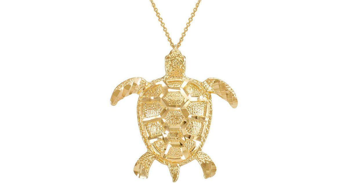 Lyst qp jewellers textured style sea turtle pendant necklace in lyst qp jewellers textured style sea turtle pendant necklace in 9kt gold in metallic aloadofball Image collections