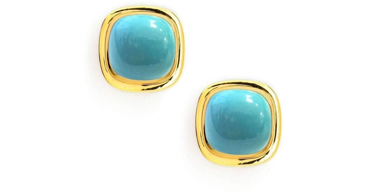 f69b1d864 Lyst - Syna 18kt Turquoise Sugarloaf Earrings in Blue