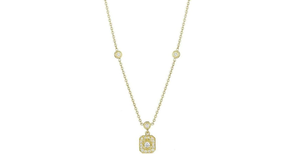 Penny Preville Diamond Emerald Shape Gold Necklace with Three Bezels 80Yf9SrP