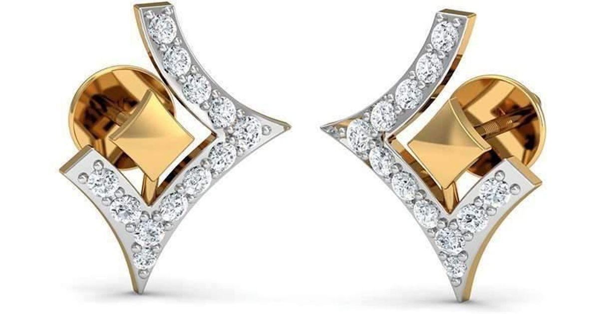 Diamoire Jewels Inspired by Nature Pave Diamond Earrings in 18kt Yellow Gold Ay8PnsrVYO