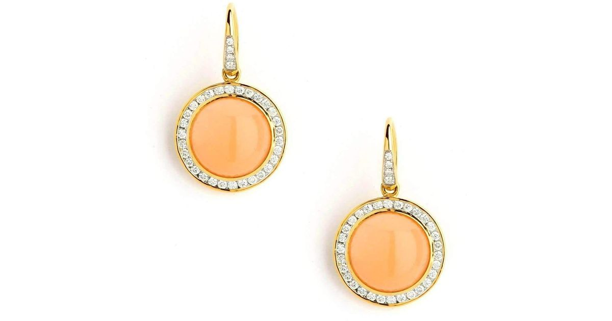 Syna 18kt Peach Moonstone Earrings With Champagne Diamonds 9xUg5XzsFc