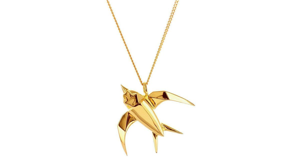 Origami Jewellery Sterling Silver & Pink Gold Swallow Origami Necklace yVGbN9
