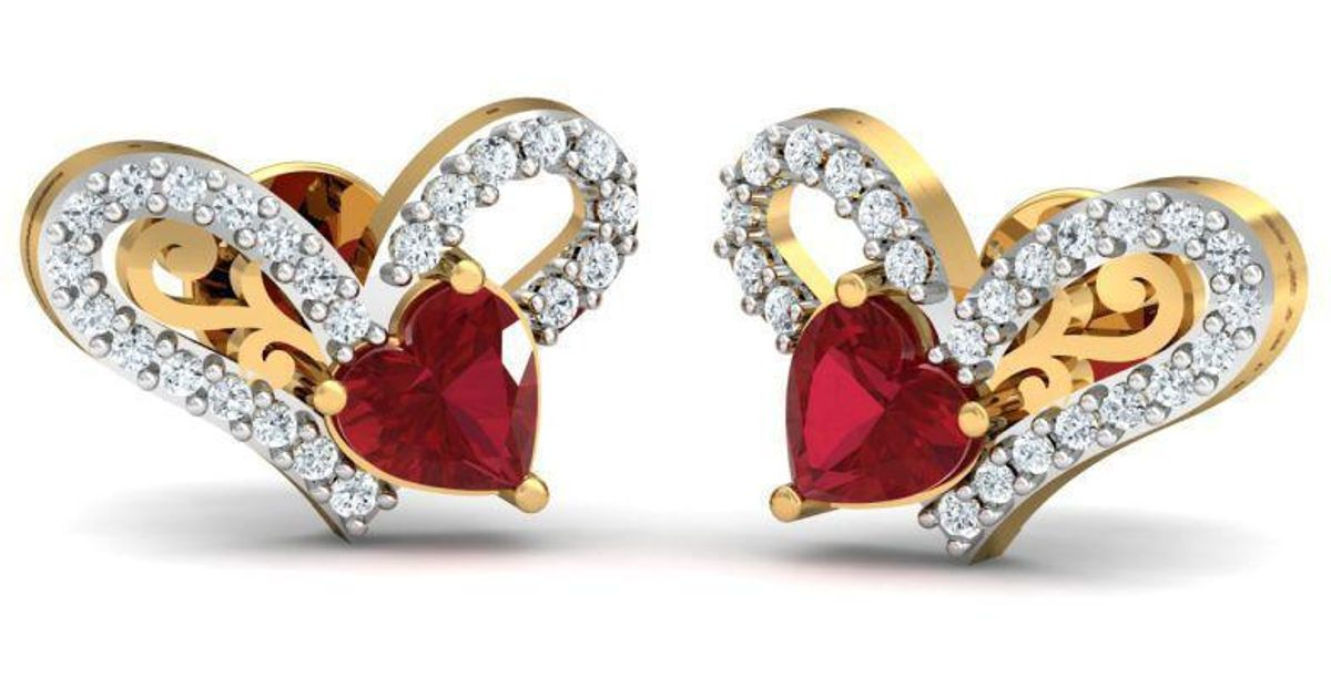 Diamoire Jewels 18kt Yellow Gold 0.22ct Pave Diamond Infinity Earrings With Ruby II M0MgF9r3
