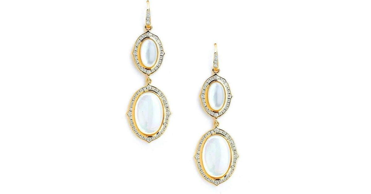 Syna 18kt Moon Quartz, Blue Sapphire & Diamond Earrings