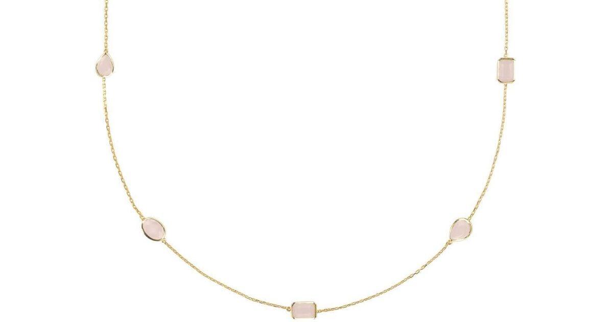 Latelita London Venice Long Chain Necklace Silver Rose Quartz FOVVnL