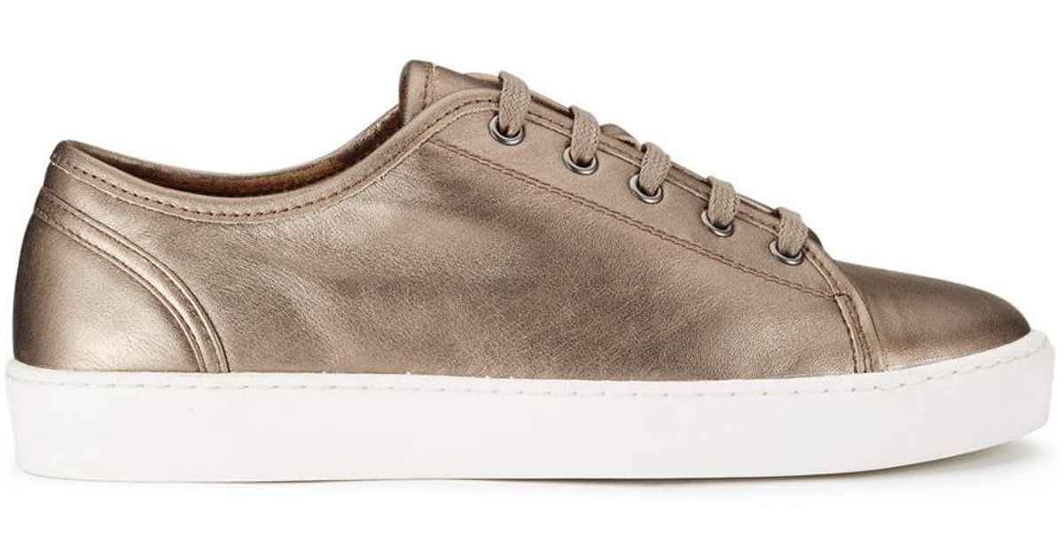 Jigsaw Ayda Leather Trainers in Pewter
