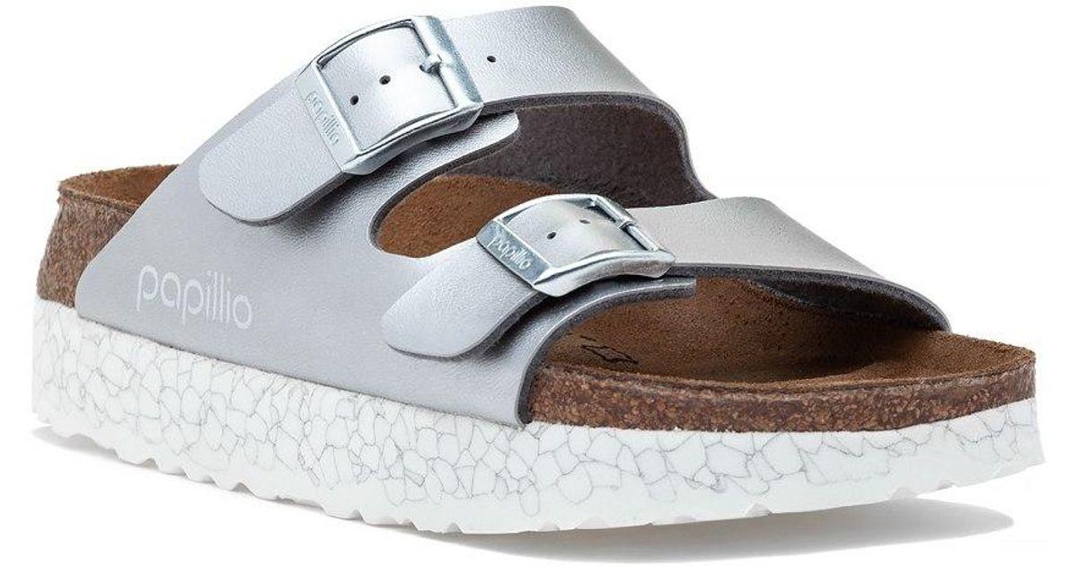 5ef937475fe8 Lyst - Birkenstock Arizona Platform Sandal Silver in Metallic