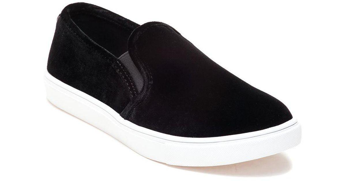 ab23aad8fd8 Steve Madden - Blue Ecntrcv Black Velvet Slip On Sneaker for Men - Lyst