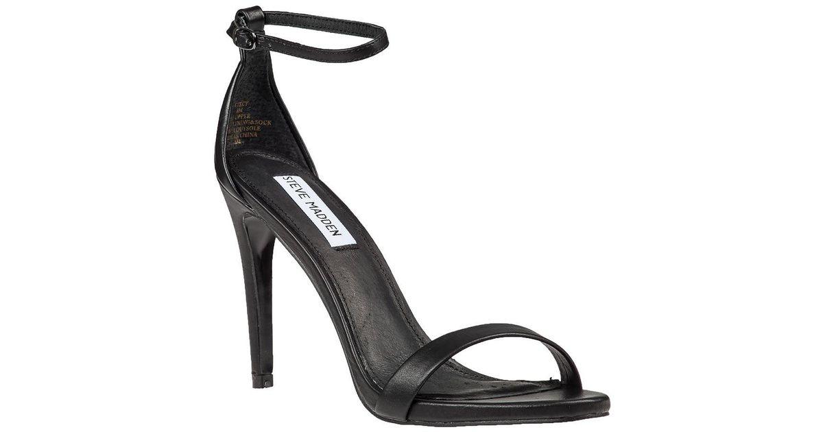 7aefb5a5439 Lyst - Steve Madden Stecy Ankle Strap Sandal Black in Metallic