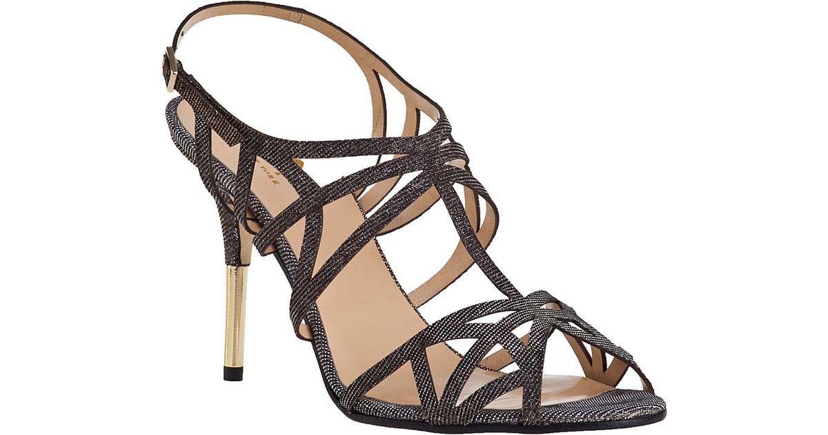 Kate Spade Issa Evening Sandal Bronze Fabric in Metallic - Lyst