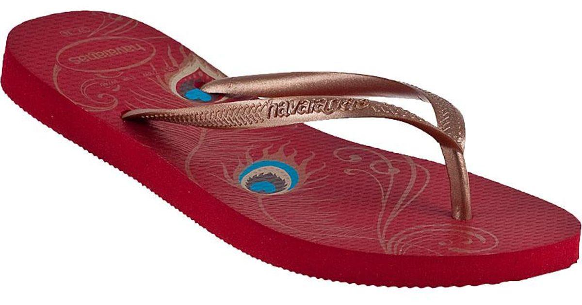 5d106ffbe Lyst - Havaianas Slim Peacock Flip Flop Red in Red