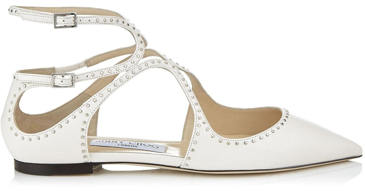 1d1716a00 Jimmy Choo Lancer Flat Chalk Nappa Leather Pointy Toe Flats With Silver  Micro Studs - Lyst