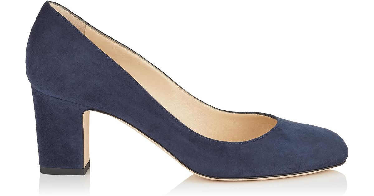 a89c5ba272f Jimmy Choo Billie 65 Navy Suede Round Toe Pumps With Chunky Heel in Blue -  Lyst