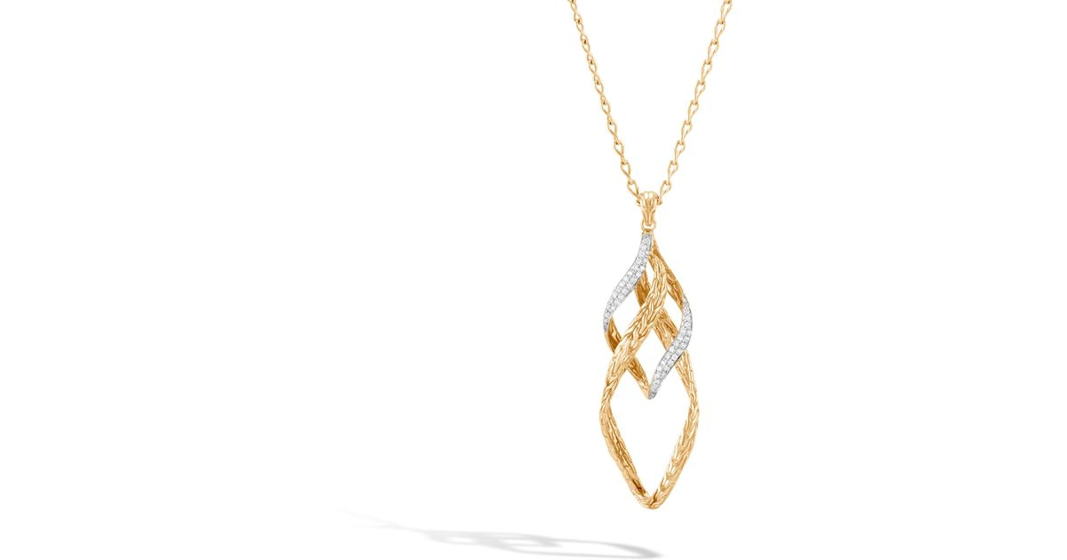 John Hardy Wave Hammered Pendant Necklace With Diamonds