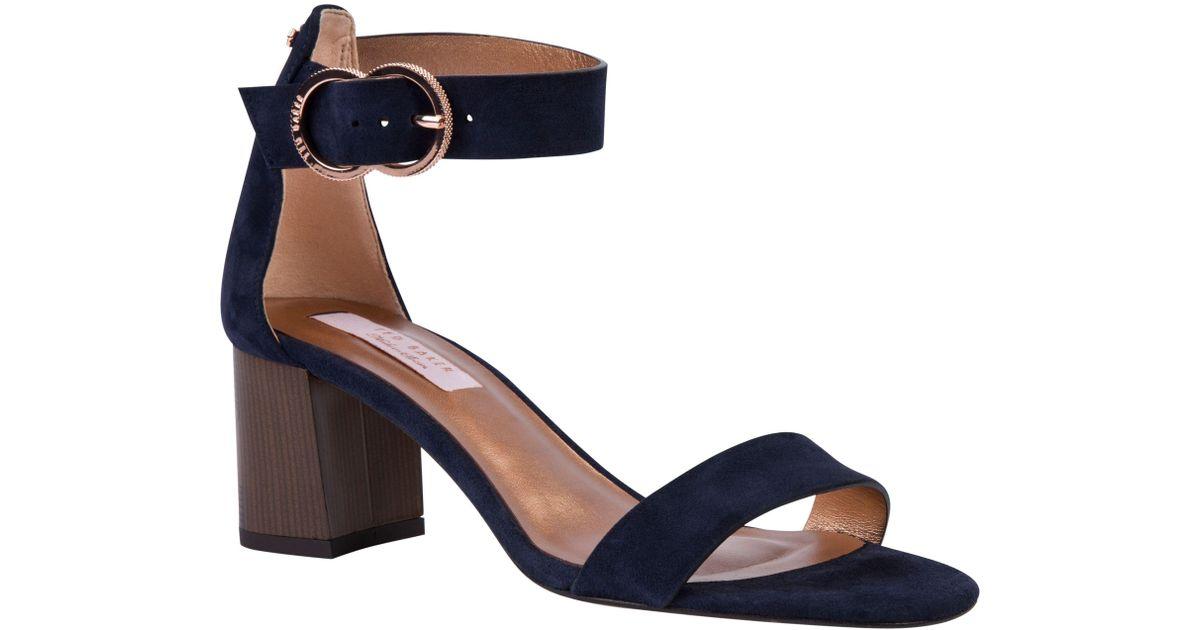 navy suede block heel sandals