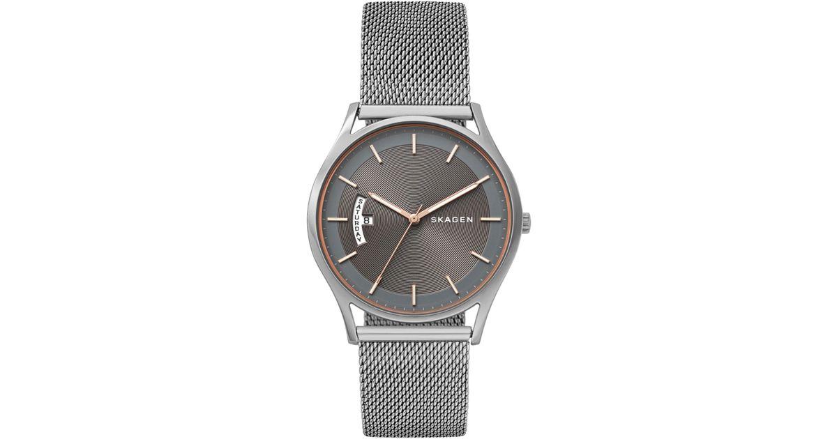 9d9e98734 Skagen Holst Skw6396 Mesh Bracelet Strap Women's Watch in Metallic - Lyst