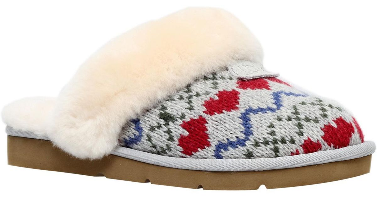aa45af43c11 Ugg Gray Cosy Knit Heart Printed Sheepskin Slippers