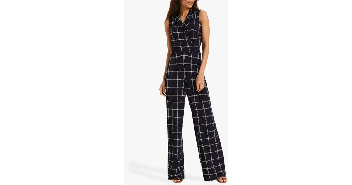 1292ea6314 Phase Eight Cheskie Check Jumpsuit in Blue - Lyst