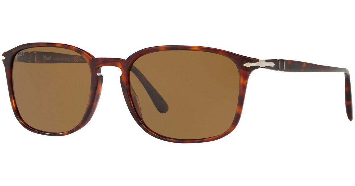 ec843c9f0f70 Persol Po3158s Polarised Square Sunglasses in Brown for Men - Lyst