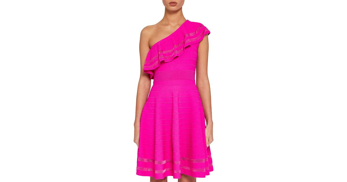 669a4ff5621a Ted Baker One Shoulder Knitted Dress in Pink - Lyst
