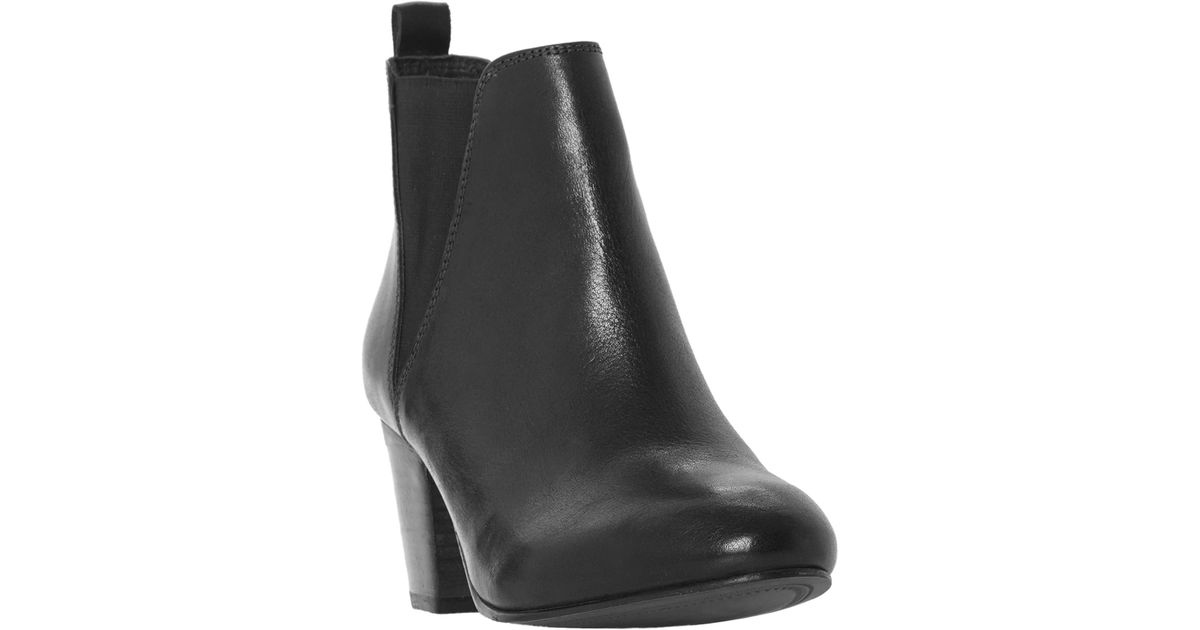 9522d89ae03 Dune Black Pamella Block Heel Ankle Boots