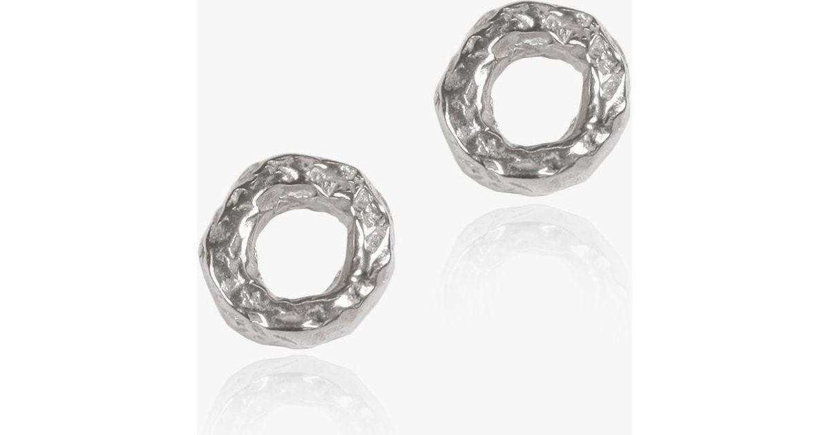 d83e8d623 Matthew Calvin Meteorite Textured Round Stud Earrings in Metallic - Lyst