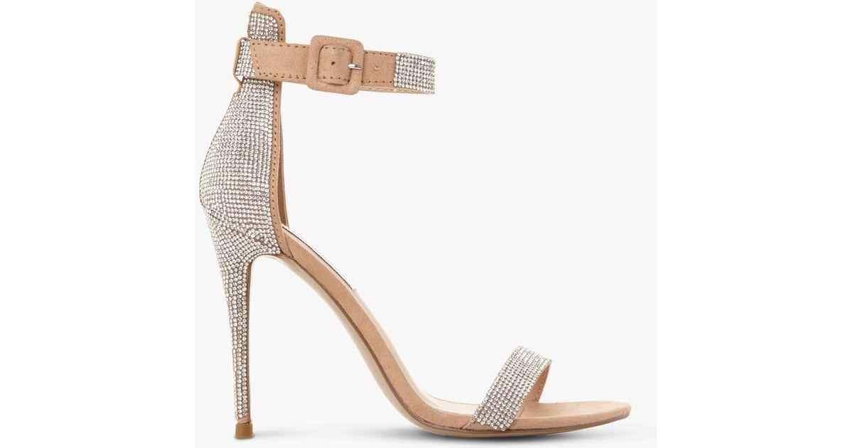 d2e364f151c Steve Madden Silver  mischa Sm  High Stiletto Heel Ankle Strap Sandals in  Metallic - Lyst