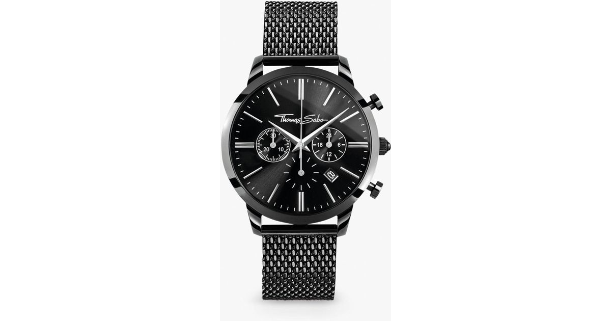 4bc0cc31ff0ce4 Thomas Sabo Men's Rebel Spirit Chronograph Mesh Bracelet Strap Watch in  Black for Men - Lyst