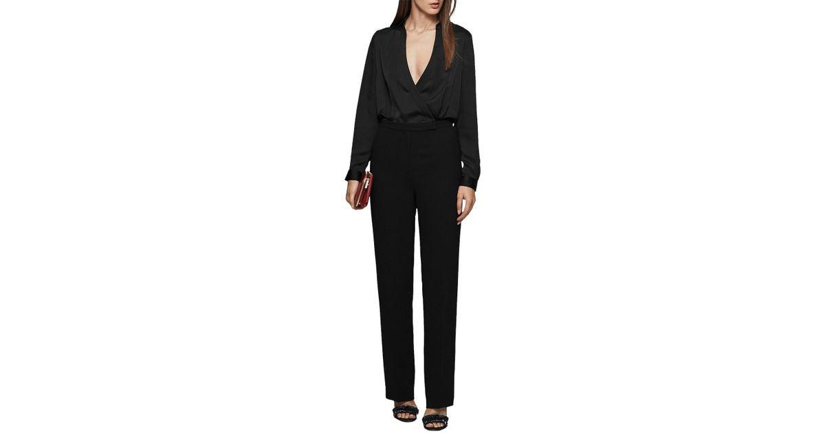 3f8c5046d5d Reiss Imie Wrap Jumpsuit in Black - Lyst