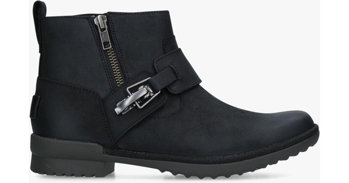 93de3c5f42a Ugg Black Cheyne Waterproof Low Block Heel Ankle Boots