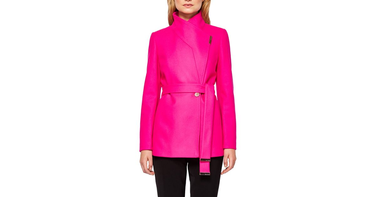 50% price purchase cheap for whole family Ted Baker Keyla Short Wrap Coat in Maroon (Pink) - Lyst