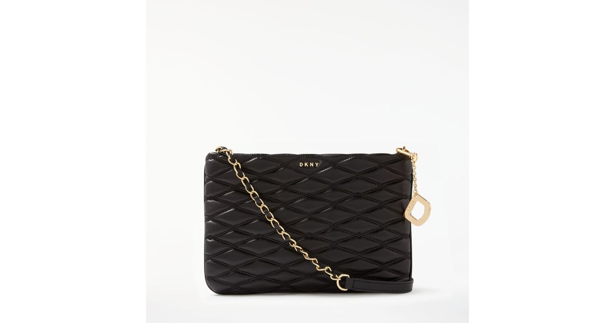 82b3f02d1 Dkny Nappa Leather Quilted Cross Body Bag in Black - Lyst