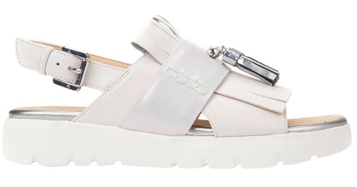 Embellished Tassel Sandals Women's Geox White Flat Amalitha iXZTkuOP