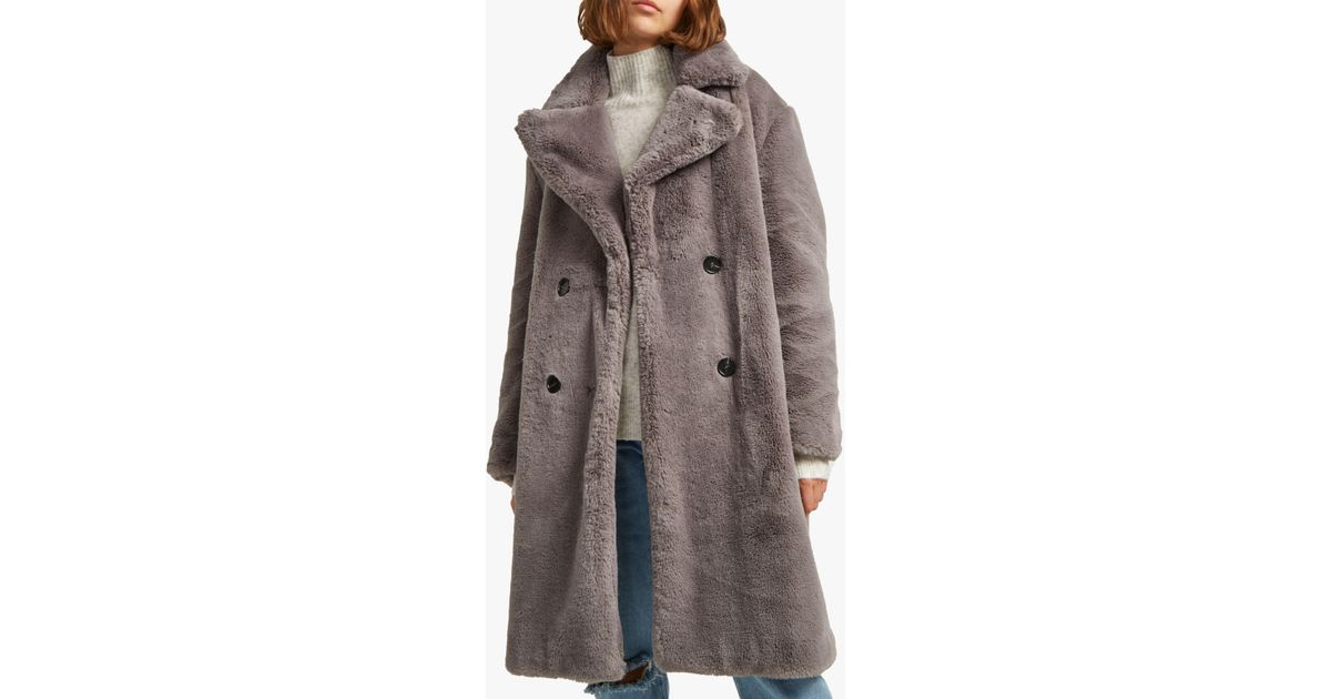c6bd56c4a French Connection Annie Faux Fur Coat in Gray - Lyst