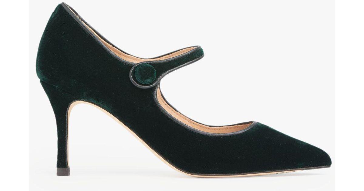 L K Bennett Velvet Monica Closed Court Shoes In Green Lyst