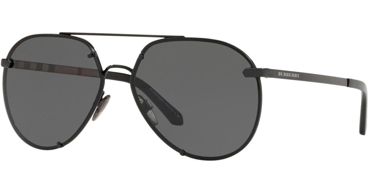54e04e1815 Burberry Be3099 Women s Aviator Sunglasses in Black - Lyst