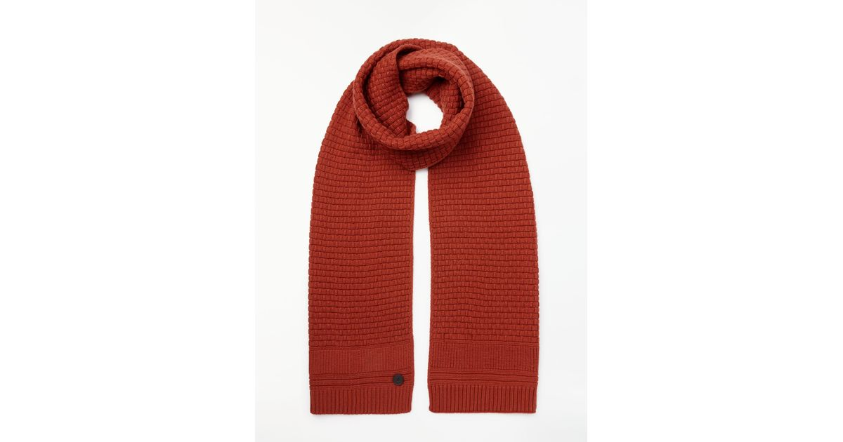 c99c87b0de90 Ted Baker Textured Knitted Scarf in Orange for Men - Lyst