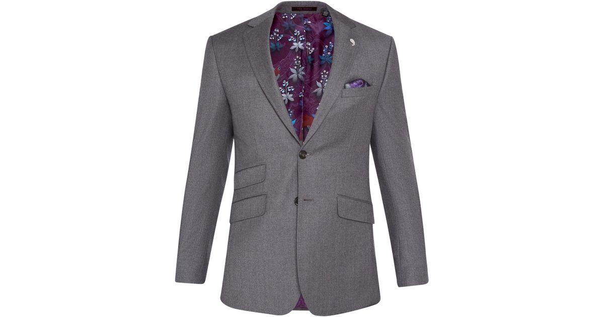 e12912f52 Ted Baker Caspiaj Sterling Wool Flannel Tailored Suit Jacket in Gray for  Men - Lyst