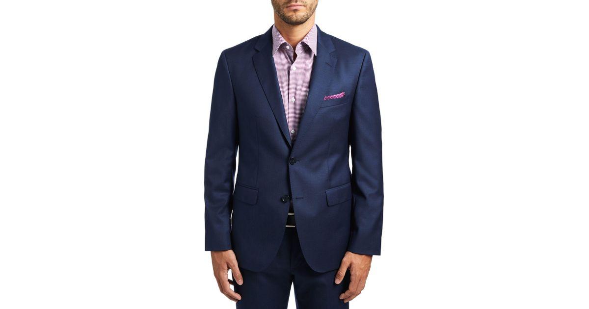BOSS Hugo By C-jeffery Wool Micro Pattern Regular Fit Suit Jacket in Blue  for Men - Lyst 284b0260c6e